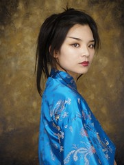 geisha (torontofotobug) Tags: blue red beauty mouth asian eyes turquoise lips geisha kimono moulann toppics annedehaas