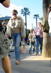 street people sunglasses la losangeles furry santamonica streetphotography 2006 wrong jeans jacket tacky badfashion fromthehip peoplewatching 3rdst 3rdstpromenade ridiculouslosangeles