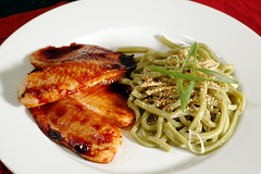 Soy-Maple Glazed Tilapia and Green Tea Udon with Spicy Yuzu Sauce (ilmungo) Tags: food fish cold cooking kitchen topv111 dinner ginger udon yummy sesame delicious greenonions greentea tilapia iatethis glazed broiled icookedthis soymapleglaze greenteaudon yuzusauce