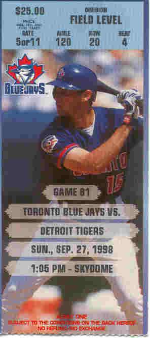 September 27, 1998 - Blue Jays