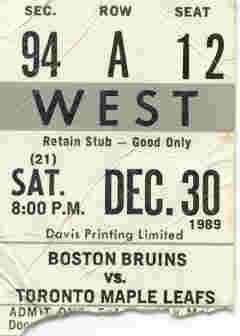 December 30, 1989 - Maple Leafs