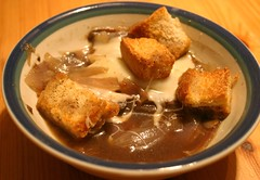 Onion And Portabella Soup With Swiss And Croutons
