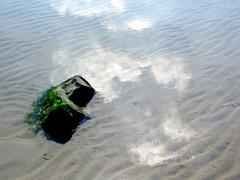clouds in shallow water (doc(q)man) Tags: netherlands schoorlseduinen shortwalkonthebeach sand reflection sun sunlight light water pattern repetition cloud block basalt abstract beach sea ocean docman