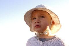 at the beach (jen clix) Tags: child girl toddler beach hat backlit santacruz itsbeach sunhat