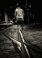 Headless (Ali Brohi) Tags: nyc newyorkcity railroad urban cars headless brooklyn standing steel bricks ghost tracks streetshots dumbo duotone shining streetphotos seedingchaos moazzambrohicom httpwwwmoazzambrohicom wwwmoazzambrohicom