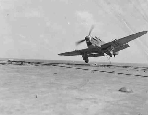 Warbird picture - Fairey Firefly landing on HMS Vengeance