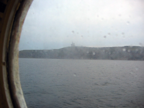 First glimpse of shore through my porthole.