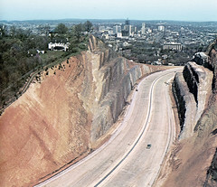 red mountain cut 1970 (Dystopos) Tags: birmingham alabama redmountain highway expressway cut geology skyline 1970 found