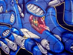 Alien Spacefighter (See El Photo) Tags: street city blue urban 15fav streetart color art wall graffiti la paint noho grafiti graf alien wallart nh urbanart spraypaint graff grafite northhollywood  5f 111v1f  spacefighter