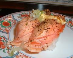 Seared Salmon Closeup (Danburg Murmur) Tags: japan sushi tokyo salmon tsukiji 日本 東京 築地 sushiboat 寿司 sushizanmai tōkyō 築地魚河岸 回転すし サーモン すしざんまい