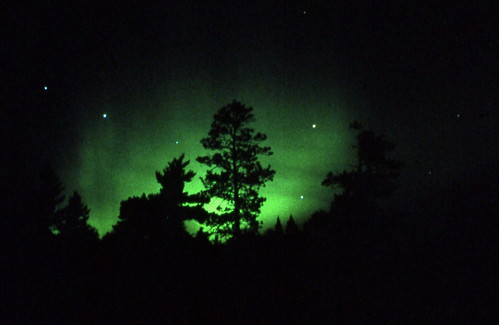 northern lights compete with big dipper