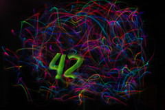 42 (cszar) Tags: longexposure 15fav lightpainting art topv111 510fav nikon d70 scifi 42 thehitchhikersguidetothegalaxy douglasadams lightinmotion dontpanic