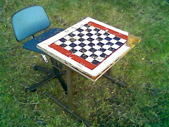 Check, mate. (mrjorgen) Tags: cameraphone camphone table chair surrealism chess surreal bord surrealisme stol oslofjorden sjakk officechair misplaced nokia5140i kontorstol bestemorstranda underskogno crapcamphone malplaced malplassert