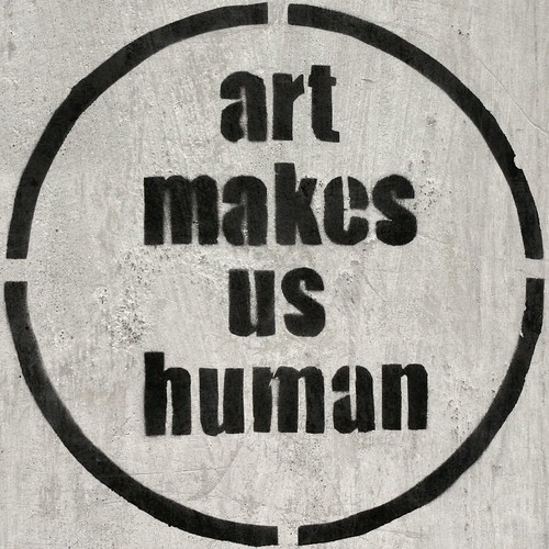 Art makes us human (stencil graffiti)
