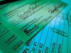 Chevington's Checks (myclockworks) Tags: cheese chevington wensleydale britishcheese cheeses checks cheques finances paperclip spreadsheet scheck green gruen