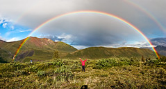 The Double Alaskan Rainbow (Eric Rolph) Tags: travel panorama alaska walking mom landscape rainbow hiking panoramic adventure backpacking doublerainbow emilydavis cathleenrolph wrangellstelias smallsize stitchedpanorama fcrnbws iseerussia