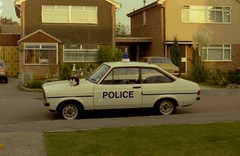 Police Car Wheatley-cat on bonnet-