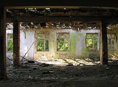Former barracks of the Red Army (:Linda: (OFF for a longer while)) Tags: autumn shadow window germany town october paint open decay fenster ruin thuringia ruine barrack hildburghausen stadtberg madeingdr eastgermanrelic