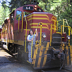 skunk train crewmember (fotogail) Tags: california railroad red train engine 64 overalls redwoods skunk fotogail willits skunktrain mendocinocounty beertrain femaletraincrewmember your300pre2006favesthanks