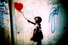 Banksy love (Maya Newman) Tags: street blue red urban streetart london art love girl wall graffiti photo lomo lca xpro lomography artwork stencil shot maya little ballon banksy before hype newman malka spigel
