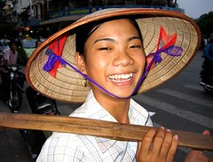 pretty fruit vendor (chillntravel) Tags: hanoi vietnam travel girl hat fruitvendor fruitseller vietnamese foodvendor vacation holiday holidays trip trips smile asia southeastasia s50