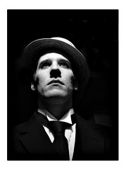 Looking up to the Dead (boristheblade) Tags: blackandwhite bw selfportrait me hat self silent clarity tie busterkeaton damfino thegreatstoneface iwillneverbethegeneral howdoyoucopewithsomethingifthesolutiondoesnotexist