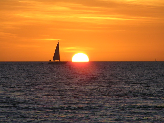 Sunset and Sailboat off Mindil Beach