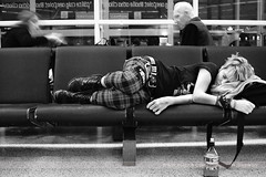 Sleeper, Dublin, Ireland (Seven Seconds Before Sunrise) Tags: travel ireland people dublin airport chair europe nap erin sleep eire