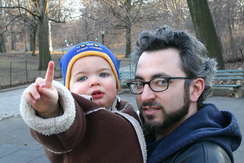 winter in the park with his Dad