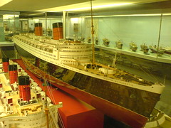 Original ship builder's model of the Cunard ocean liner Queen Elizabeth in Glasgow's Transport Museum.