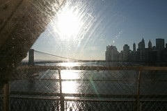 Skyscape (.brian) Tags: water reflection nyc train subway bridge buildings
