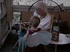 With Elizabeth the fairy on our screened porch in Pleasantville, September 2005.