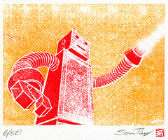 Robot, Fire! (tubes.) Tags: art illustration design graphicdesign robot interestingness interesting screenprint graphic retro halftone gocco printgocco