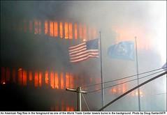US-ATTACKS-FLAG (ap1959) Tags: crash fire destruction flag terrorism hijacking newyork ny unitedstates
