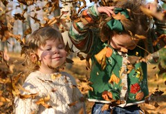 pure bliss (-Angela) Tags: 2005 autumn portrait fall topf25 leaves canon siblings foliage thedaughter theson personalfavorite mykids bliss topf100 barboursville 2005top100faves
