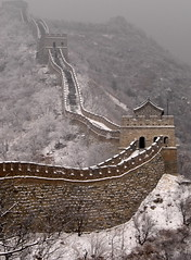 The Great Wall of China (Steve Webel) Tags: china travel winter white snow chinese interestingness1 tourist depthoffield snowing greatwall   mutianyu wonderoftheworld mostfav webel explore16nov05 top20greatwall