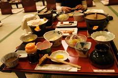 旅館での朝食