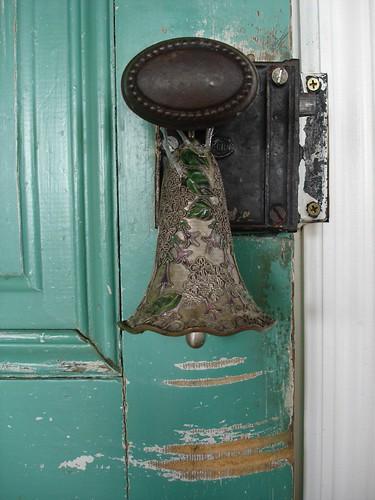 Green Door-door knob