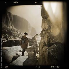 The Explorer (Sen Duggan (aka f/1.4)) Tags: holga machupicchu peru inca andes ruins explorer exploring hat sepia mountains