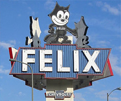 Felix Chevrolet, Neon Sign (jericl cat) Tags: chevrolet monument sign cat losangeles neon felix cartoon landmark chevy figueroa figural