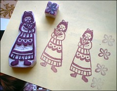 flower stamp (ccyytt) Tags: stamp rubbereraswer carve handmade craft flower girl purple