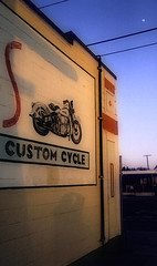 (Fire Monkey Fish) Tags: california shadow building self mural motorcycle orangeline vroomvroom tarzana customcycle