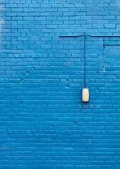 one light on a blue wall (Janet Leadbeater) Tags: light urban abstract color wall wire bricks minimal bluecolour utatablue