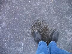 january blues (ugglan) Tags: ice water legs january asphalt dirtyshoes januarygraysmightbemoreaccurate