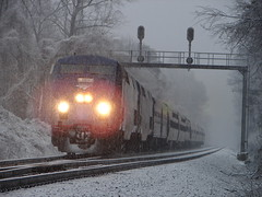 Braving the Elements (Luke Sharrett) Tags: railroad snow cold weather train virginia glare snowy north engine freezing trains headlights crescent lynchburg amtrak va freeze engines locomotive passenger 20 ge blizzard signal locomotives railroads northbound generalelectric precipitation inclement p42 signalbridge snowblizzard train20