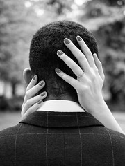 Engaged. (aaronsamuelyong) Tags: blackandwhite love monochrome engagement couple marriage olympus engaged olympuspen multiracial interracial microfourthirds