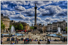Trafalgar Square (HSS) (WilliamND4) Tags: england sky london fountain photoshop square nikon crowd trafalgarsquare digitalpainting fountains sliders d300 hss