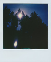 The dark forest (gambajo) Tags: wood blue trees light summer sun sunlight tree green nature analog forest dark landscape polaroid sx70 woods sundown dramatic lensflare flare instant mystic silhuette