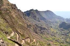 Cape Verde, Santo Antao (BuzzTrips) Tags: africa mountains trekking walking scenery hiking terraces valley paths greenvalley zigzag steep goingdown capeverde windingpath steepdescent ribeiradopaul