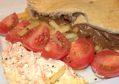 Short Crust Angus Minced Beef Pie & Tomato Salad (Tony Worrall) Tags: add tag ©2016tonyworrall images photos photograff things uk england food foodie grub eat eaten taste tasty cook cooked iatethis foodporn foodpictures picturesoffood dish dishes menu plate plated made ingrediants nice flavour foodophile x yummy make tasted meal short crust angus minced beef pie tomato salad